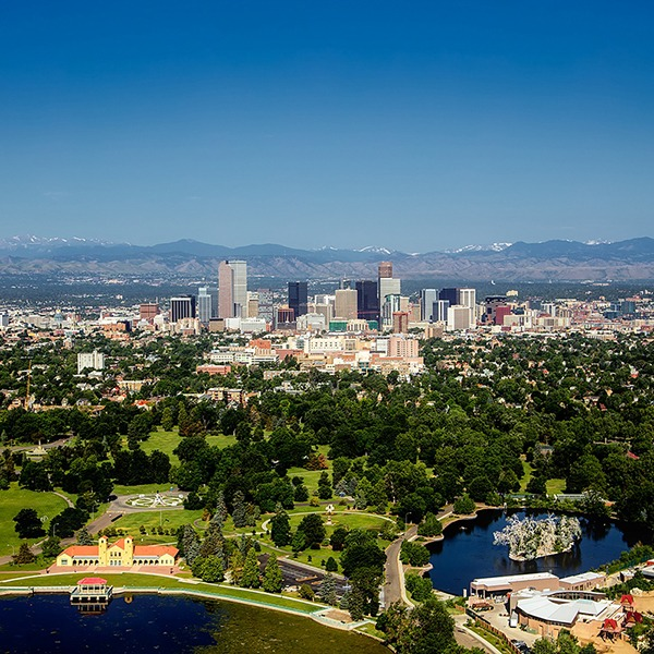 Arial view of Denver skyline and surrounding housing markets