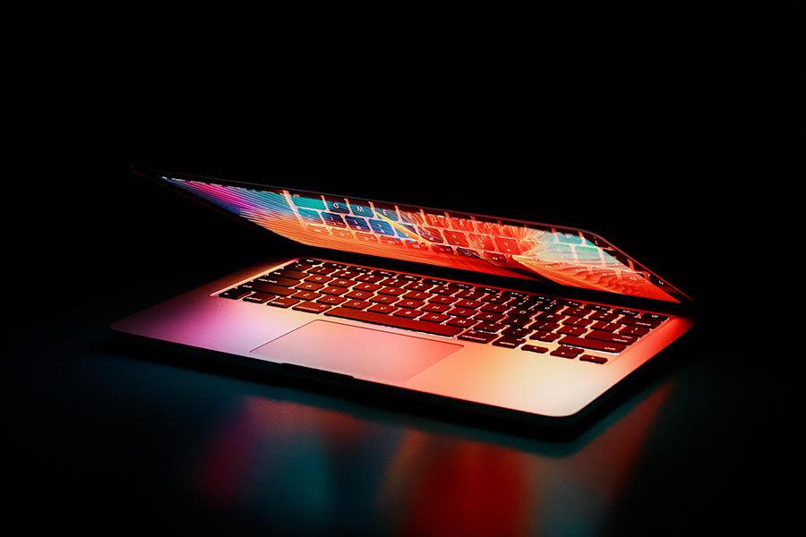 slightly open laptop